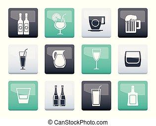 diferente, clase, de, bebida, iconos, encima, apariencia el plano de fondo