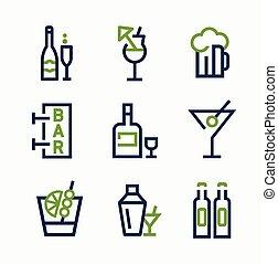diferente, clase, de, bebida, iconos, vector, icono, conjunto