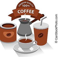 diferente, clase, de, café