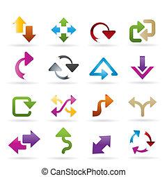 diferente, clase, de, flechas, iconos