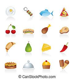 diferente, clase, de, iconos del alimento