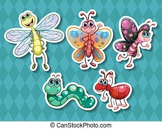 diferente, clase, de, insectos