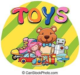 diferente, clase, de, juguetes