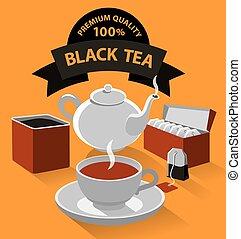diferente, clase, de, té