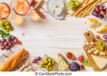 diferente, clases, de, quesos, vino, baguettes, y, fruits,...