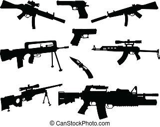 diferente, colección, armas