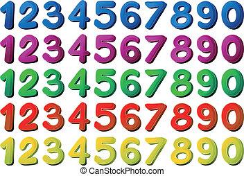 diferente, colores, números