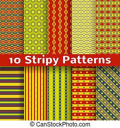 diferente, colorido, stripy, vector, seamless, patrones, (tiling).