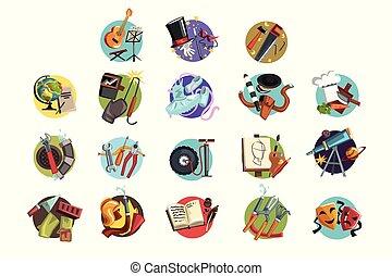 diferente, coloridos, ícones, jogo, profissões, símbolos, vetorial, ilustrações, profissional, ferramentas