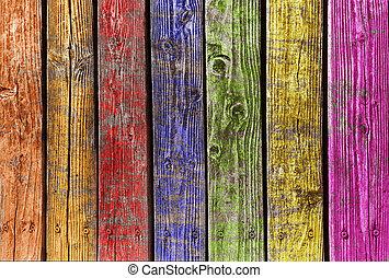 diferente, coloridos, madeira