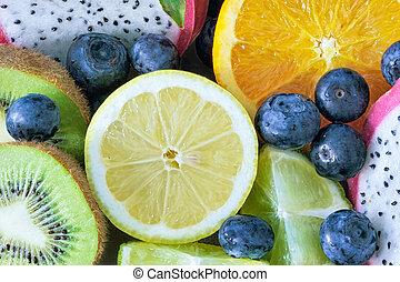 diferente, comestible, mezcla, fruits, listo, comer