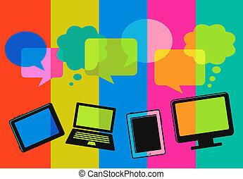 diferente, computador, fala, bolhas, ícones