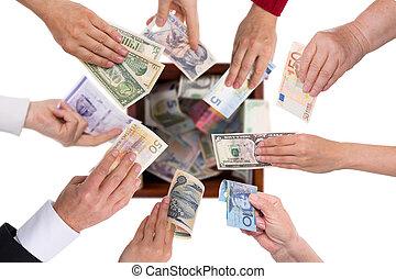 diferente, conceito, crowdfunding, moedas correntes