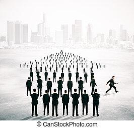 diferente, conceito, direção, businesspeople
