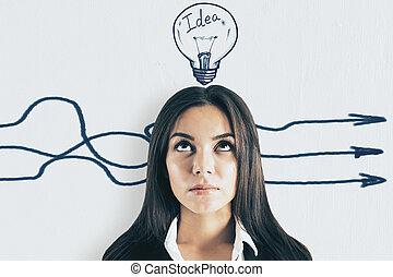diferente, conceito, direção, idéia
