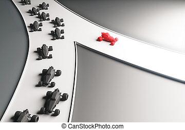 diferente, conceito, direção, vermelho