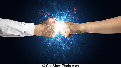diferente, conceito, elementos, luta, mãos