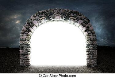 diferente, conceito, espaço, pedra, através, severo, ...