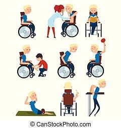 diferente, conceito, estilo vida, pessoas, jogo, situações, cadeira rodas, ilustração, incapacitado, vetorial, fundo, ativo, branca, reabilitação, homem
