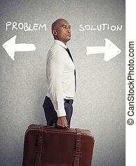 diferente, concepto, carrera, elegir, entre, hombre de negocios, destinations., elemento esencial, difícil