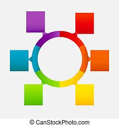diferente, concepto, colorido, empresa / negocio, flechas, ilustración, vector, banderas, circular, design.