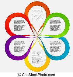 diferente, concepto, forma, colorido, ilustración negocio, vector, flor, banderas, circular, design.