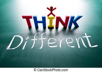 diferente, concepto, pensar