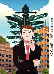 diferente, confundido, sinal, rua, sob, direções, homem negócios