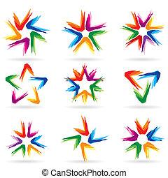 diferente, conjunto, #11, estrellas, iconos