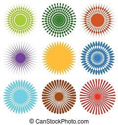 diferente, conjunto, aleatorio, líneas, elemento, radial, 9