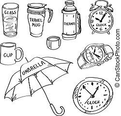 diferente, conjunto, artículos, aislado, mano, fondo., doodles, dibujado, blanco