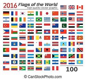 diferente, conjunto, banderas, countries.
