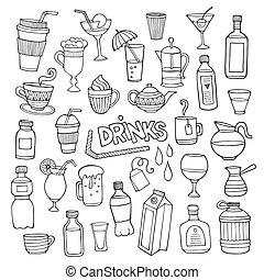 diferente, conjunto, bebidas, mano, vector, dibujado