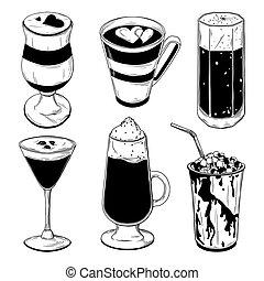 diferente, conjunto, café, aislado, cócteles, fondo., vector, blanco