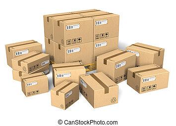 diferente, conjunto, cajas, cartón