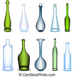 diferente, conjunto, colorido, form., vector, botella