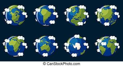 diferente, conjunto, continentes, actuación, planeta, globos, tierra
