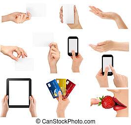 diferente, Conjunto, empresa / negocio, Ilustración,  vector, tenencia, Manos, objetos