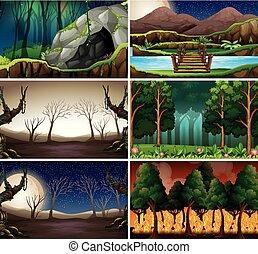 diferente, conjunto, escena, naturaleza