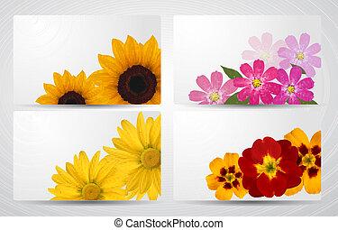 diferente, conjunto, flower., colorido, vector, banderas, illustration.