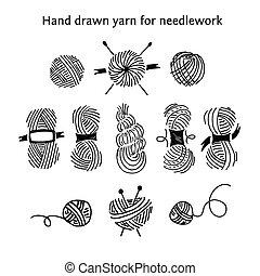diferente, conjunto, hilos, colección, skeins, hand-drawn,...