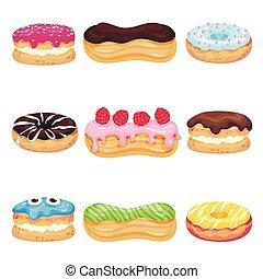diferente, conjunto, icing., ilustración, fondo., vector,...