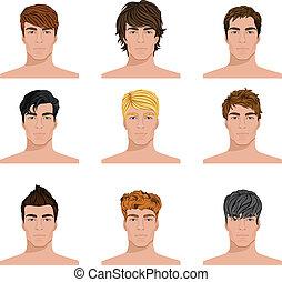 diferente, conjunto, iconos, hombres, peinado, caras