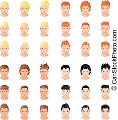 diferente, conjunto, joven, retratos, hombres, estilo, aislado, pelo, vector, ilustraciones
