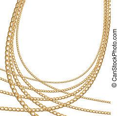 diferente, conjunto, joyas, oro, cadenas, tamaño