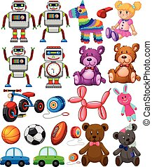 diferente, conjunto, juguetes