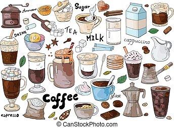 diferente, conjunto, menu., café, mano, fondo., dibujado, blanco, café, tipos