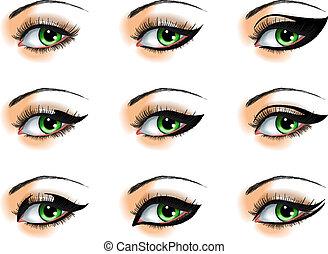 diferente, conjunto, nueve, delineadorespara ojos