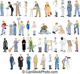 diferente, conjunto, profesiones