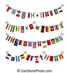 diferente, conjunto, proporciones, aislado, soberano, estados, banderas, guirnaldas, mundo, blanco, verdadero